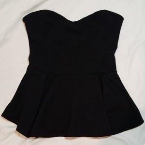 Lush Black Peplum Corsette strapless Top